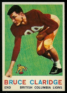 1959 Topps CFL #19 - Bruce Claridge - exmt