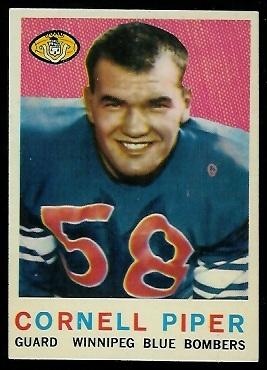 1959 Topps CFL #2 - Cornel Piper - exmt