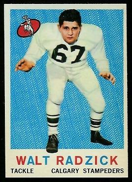 1959 Topps CFL #22 - Walt Radzick - nm