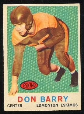 1959 Topps CFL #44 - Don Barry - vg