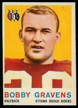 1959 Topps CFL #51 - Bobby Cravens - nm oc