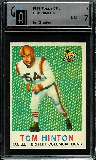 1959 Topps CFL #9 - Tom Hinton - GAI 7