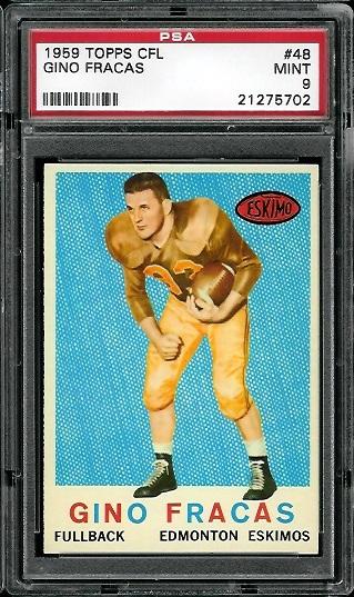 1959 Topps CFL #48 - Gino Fracas - PSA 9