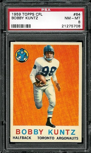 1959 Topps CFL #64 - Bobby Kuntz - PSA 8