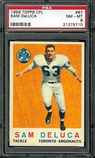 1959 Topps CFL #67 - Sam DeLuca - PSA 8