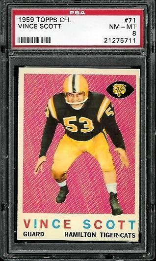 1959 Topps CFL #71 - Vince Scott - PSA 8