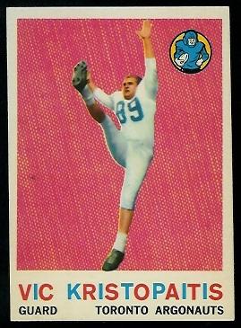 1959 Topps CFL #69 - Vic Kristopaitis - exmt
