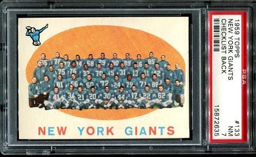 1959 Topps #133 - New York Giants Team - PSA 7