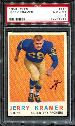 1959 Topps #116 - Jerry Kramer - PSA 8