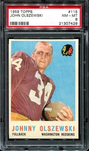1959 Topps #115 - John Olszewski - PSA 8