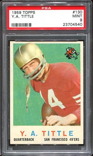1959 Topps #130 - Y.A. Tittle - PSA 9