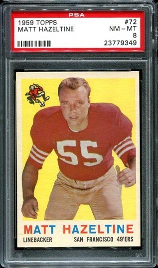 1959 Topps #72 - Matt Hazeltine - PSA 8