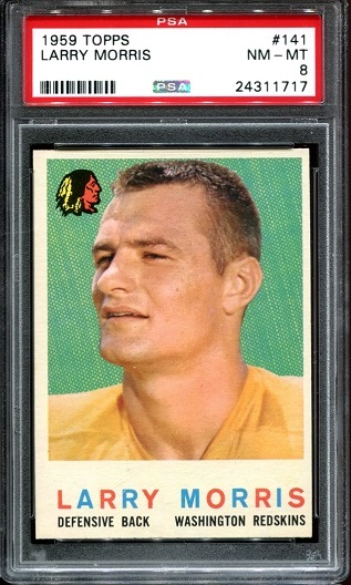 1959 Topps #141 - Larry Morris - PSA 8