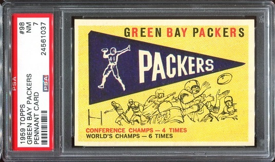 1959 Topps #98 - Packers Pennant - PSA 7