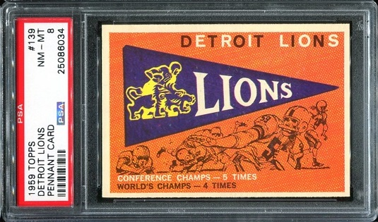 1959 Topps #139 - Lions Pennant - PSA 8