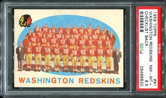 1959 Topps #91 - Washington Redskins Team - PSA 8.5