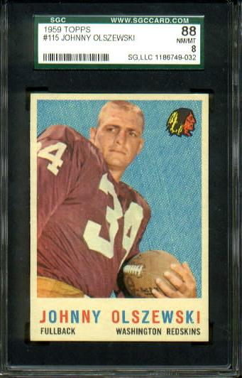 1959 Topps #115 - John Olszewski - SGC 88