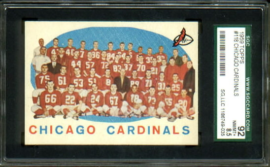 1959 Topps #118 - Chicago Cardinals Team - SGC 92