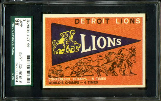 1959 Topps #139 - Lions Pennant - SGC 88