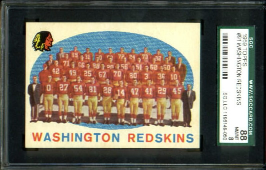 1959 Topps #91 - Washington Redskins Team - SGC 88