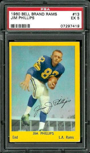 1960 Bell Brand Rams #13 - Jim Phillips - PSA 5
