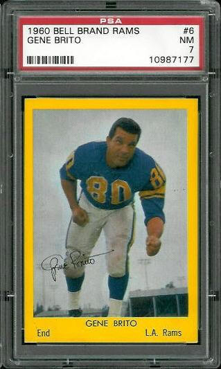 1960 Bell Brand Rams #6 - Gene Brito - PSA 7