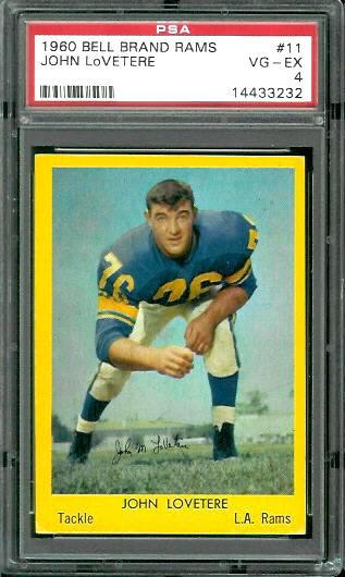 1960 Bell Brand Rams #11 - John LoVetere - PSA 4