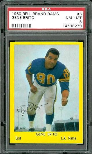 1960 Bell Brand Rams #6 - Gene Brito - PSA 8