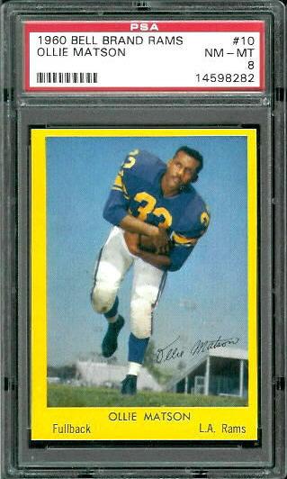 1960 Bell Brand Rams #10 - Ollie Matson - PSA 8