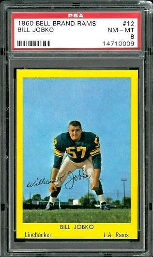 1960 Bell Brand Rams #12 - Bill Jobko - PSA 8