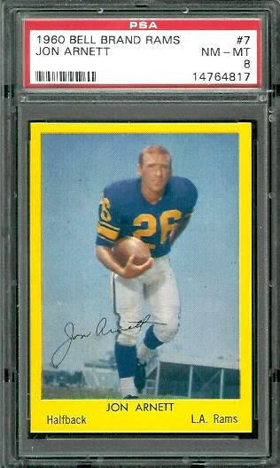 1960 Bell Brand Rams #7 - Jon Arnett - PSA 8