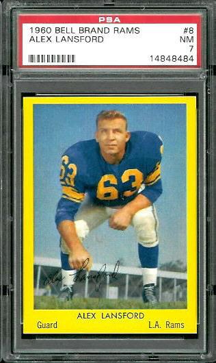 1960 Bell Brand Rams #8 - Buck Lansford - PSA 7