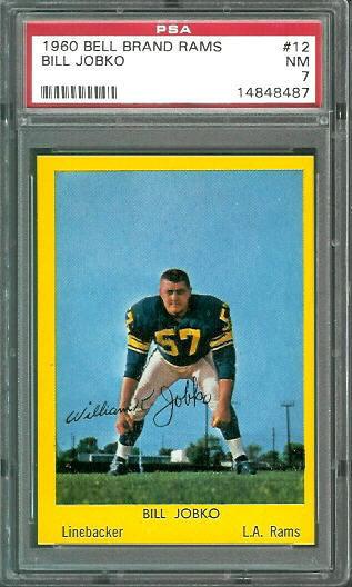 1960 Bell Brand Rams #12 - Bill Jobko - PSA 7