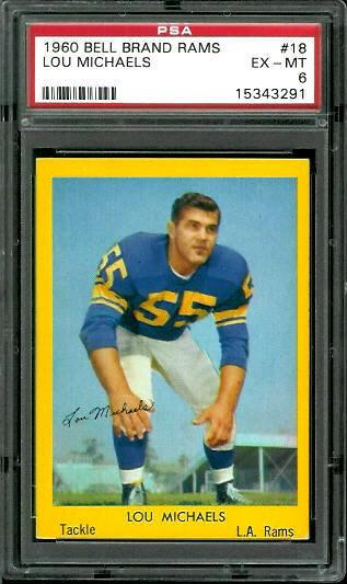 1960 Bell Brand Rams #18 - Lou Michaels - PSA 6