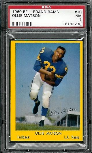 1960 Bell Brand Rams #10 - Ollie Matson - PSA 7