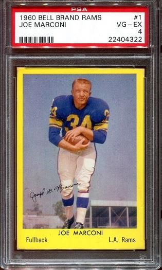 1960 Bell Brand Rams #1 - Joe Marconi - PSA 4