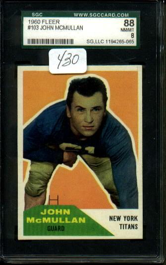 1960 Fleer #103 - John McMullan - SGC 88