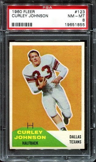 1960 Fleer #123 - Curley Johnson - PSA 8