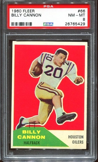 1960 Fleer #66 - Billy Cannon - PSA 8