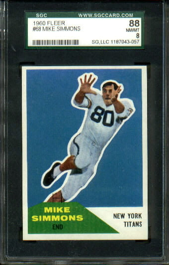 1960 Fleer #68 - Mike Simmons - SGC 88