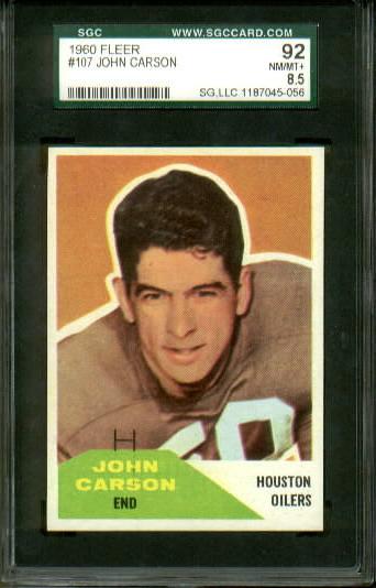 1960 Fleer #107 - John Carson - SGC 92