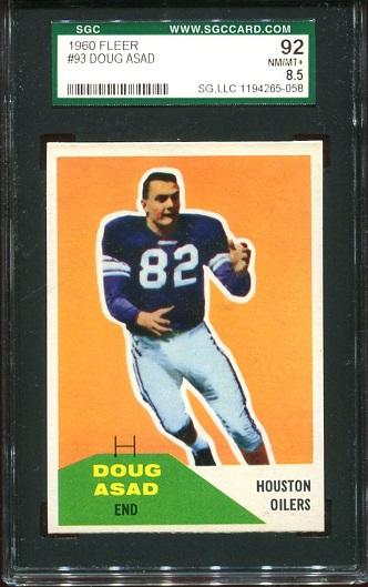 1960 Fleer #93 - Doug Asad - SGC 92