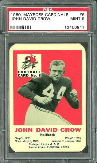 1960 Mayrose Cardinals #6 - John David Crow - PSA 9