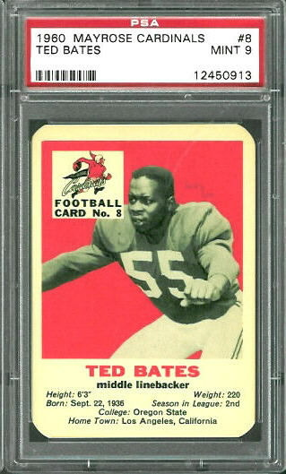 1960 Mayrose Cardinals #8 - Ted Bates - PSA 9