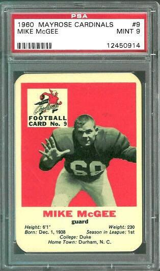 1960 Mayrose Cardinals #9 - Mike McGee - PSA 9
