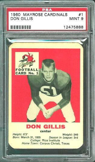 1960 Mayrose Cardinals #1 - Don Gillis - PSA 9