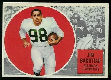 1960 Topps CFL #22 - Jim Bakhtiar - exmt