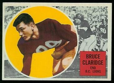 1960 Topps CFL #3 - Bruce Claridge - exmt