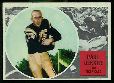 1960 Topps CFL #32 - Paul Dekker - nm