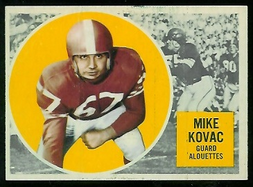 1960 Topps CFL #43 - Mike Kovac - exmt